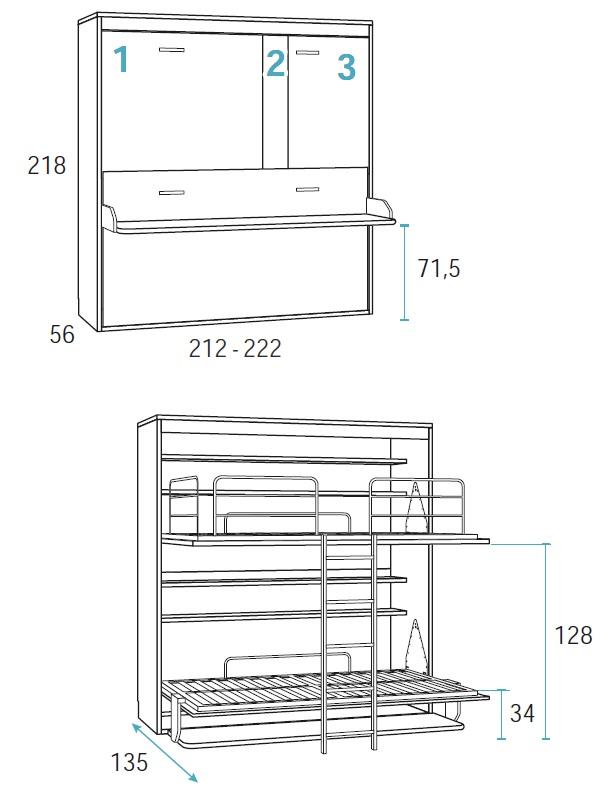 lova-dviem-vaikams-spintoje-sieninė-dviaukštė-lova