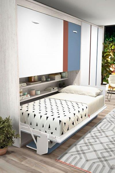 sieninė-dviaukštė-lova-spintoje-su-stalu