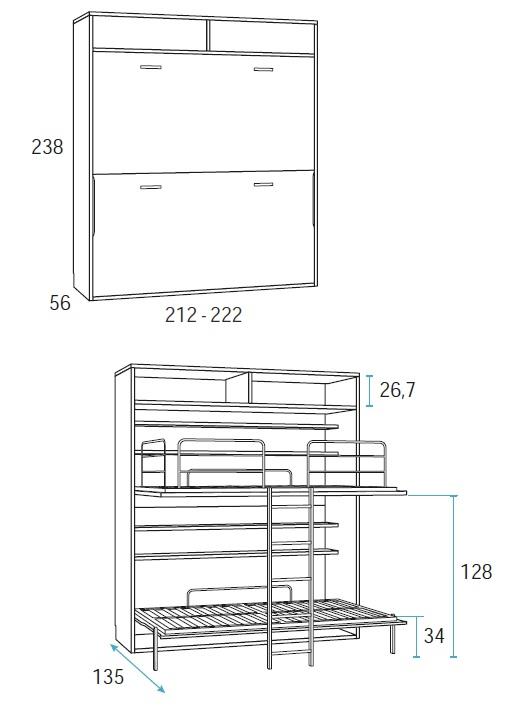 dviejų-aukštų-lova-sieninė-atverčiama-lova-spintoje