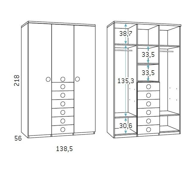 trijų-durų-spinta-su-stalčiais