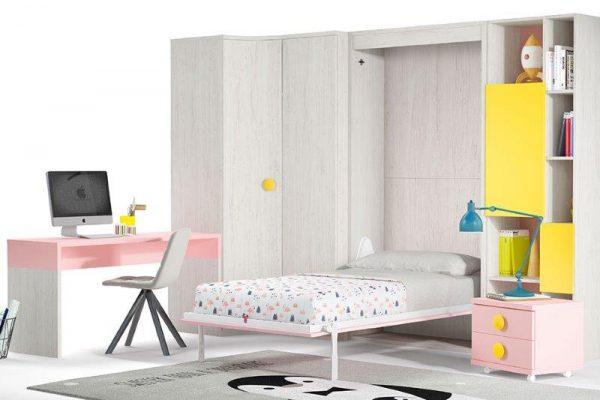 sieninė-lova-vaikams-mergaitės-kambarys