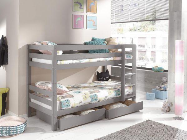 pilka-dviaukštė-lova-su-stalčiais